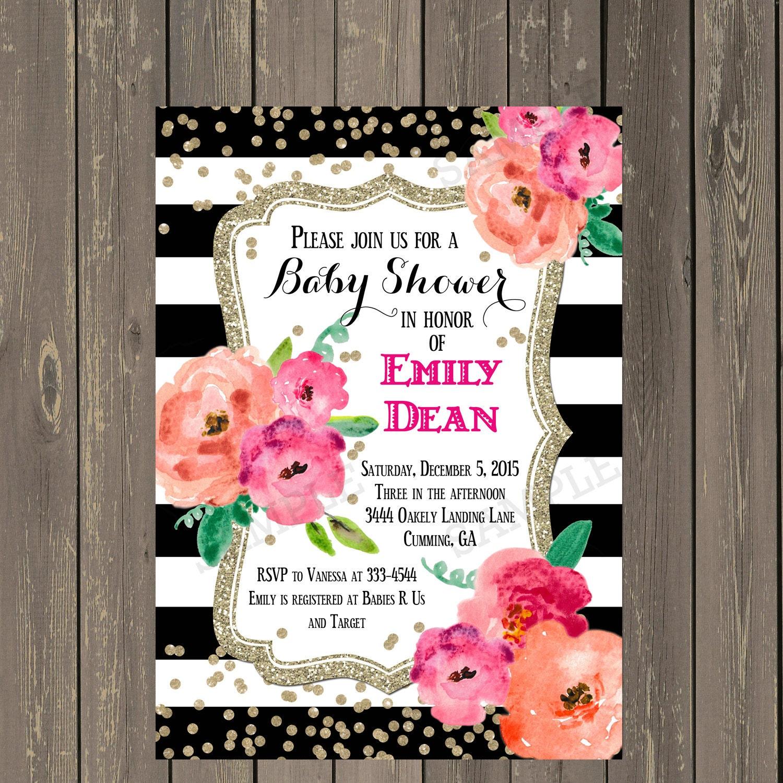 Black and White Baby Shower Invitation Black & White Stripe