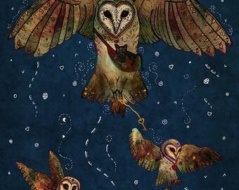 HEALERS OF LIGHT 5x7 Fine Art Print, Barn Owl Art, Barn Owl Print, Owl Artwork, Flying Bird Owl, 5 x 7 Owl Print, Owl Fantasy Art, Magical