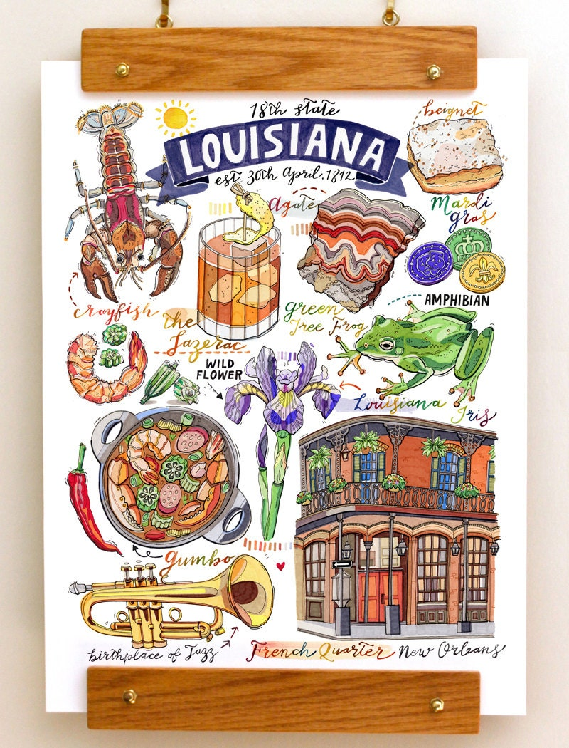 Louisiana print symbols illustration new orleans jazz zoom buycottarizona Choice Image