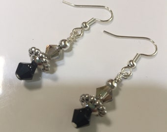 Pretty smoky and black crystal earrings