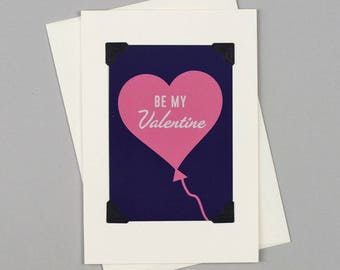 """Handmade Valentine's Card """"Be My Valentine"""" in Vintage Style with Heart Balloon illustration"""