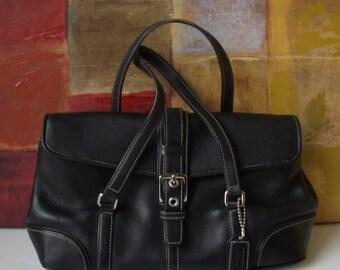 Excellent COACH Handbag Black Leather Satchel Purse