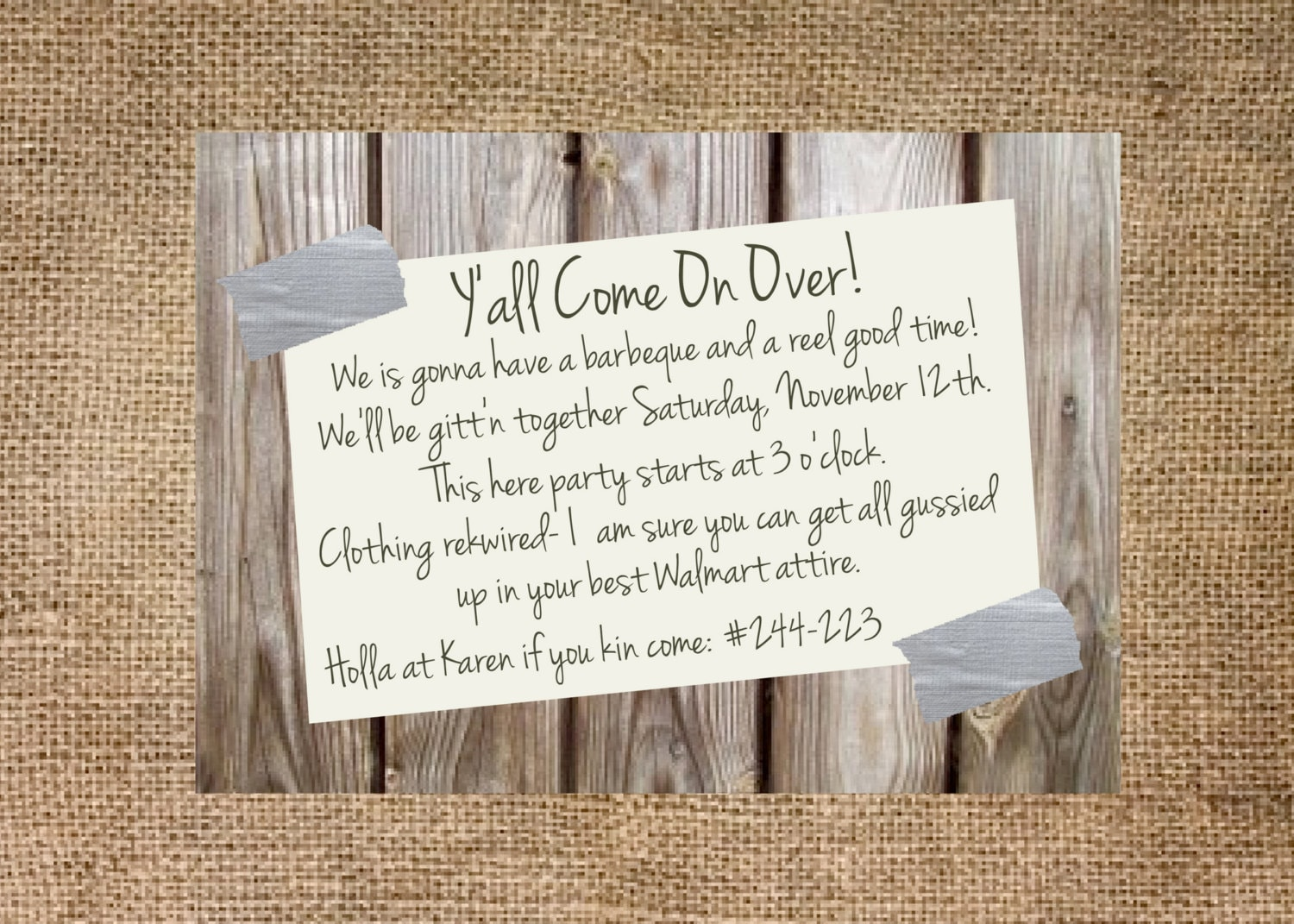 Redneck party invitation personalized and printable 5x7