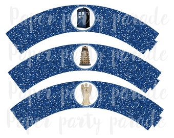 DIY Dr. Who Party Cupcake Wrappers- TARDIS- INSTANT download, digital file, print at home, birthday party, wedding, Doctor Who