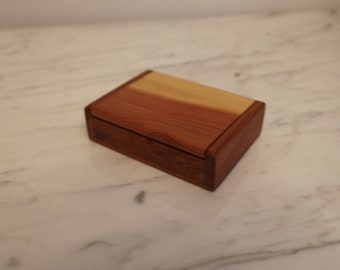Wooden massive cigarette box , Handmade Wood Cigarette Pack Holder Case , Juniper Cigarette Box