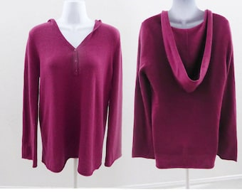 100% Cashmere Sweater Size M Burgundy Red Hooded Hoody Womens Shimera Tunic