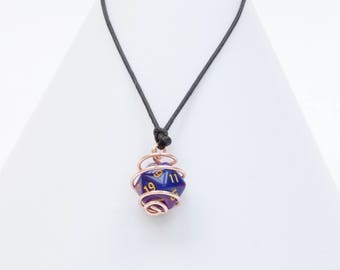 Wire coiled D20 dice necklace