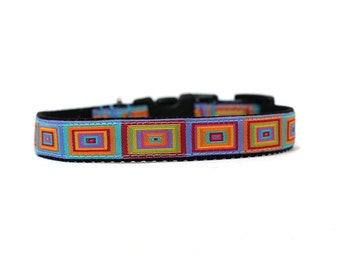 5/8 or 3/4 Inch Wide Dog Collar with Adjustable Buckle or Martingale in Squared