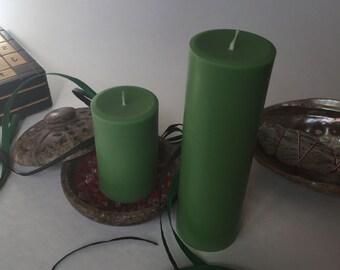 Green Soy Wax Pillar Candles