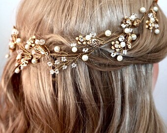 Bridal hair vine, wedding hair vine, Crystal vine, bridal hair vine crystal gold or silver, gold or silver wedding accessories