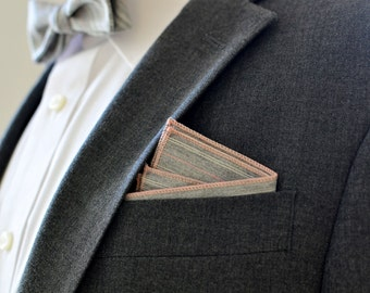 Pocket Square in Gray and Pink Pinstripe- handkerchief cotton wedding groomsmen grey white stripes suiting