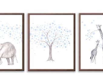 Art For Baby, Nursery Wall Art, Watercolor Kids Art, Animal Nursery Decor, Limited Edition Set Of Three Art Prints - SO83W