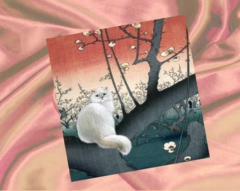 Cat Digital card: white cat and cherry