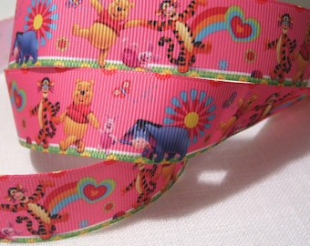 Printed grosgrain Ribbon * 25 mm * WINNIE Pooh and his friends pink - sold by the yard