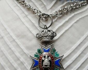 Vintage Belgian Civic Labour Award Enamelled Cross Medal Assemblage Necklace - NRU096