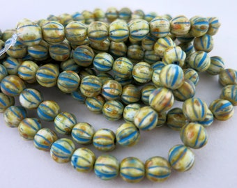 6mm Ivory Turquoise Picasso Czech Glass, Melon Beads, Full Strand 25 Beads, Ready To Ship