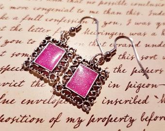 Portrait of pink - small dangle earrings