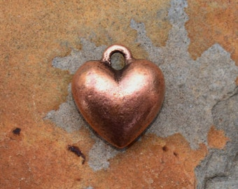 1 Antique Copper Puffed Heart Charm 12mm x 11mm Nunn Designs Low Shipping