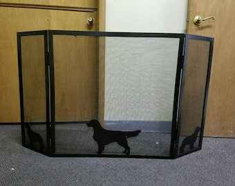 Custom 3-Panel Folding Rectangular Fireplace Screen with Golden Retriever Silhouettes or Silhouette of Your Choice