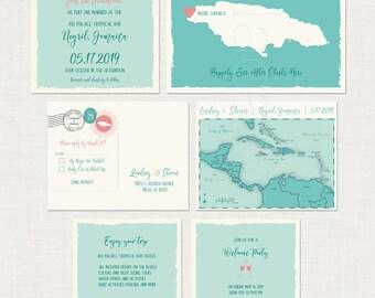 Jamaica Turquoise map Beach Destination Wedding Invitation Set Caribbean island map wedding  DEPOSIT Payment