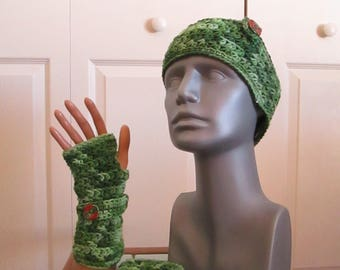 Crocheted Fingerless Mitts and Headband - One Size First Most
