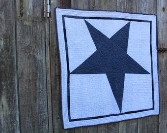 Navy Blue Flannel Star Quilt