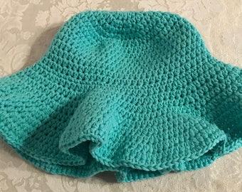 Child's Crochet Green Cotton Floppy Sun Hat