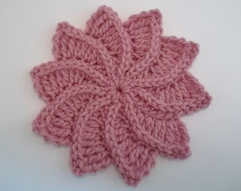 Twirlagig spiral Flower, a knit look Crochet Pattern-Instant Download