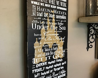 Disney Quotes Family Rules We do Disney Planked wood