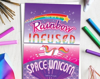 rainbow infused space unicorn greeting card // parks and recreation card // leslie knope card // ann perkins card // greeting card friends
