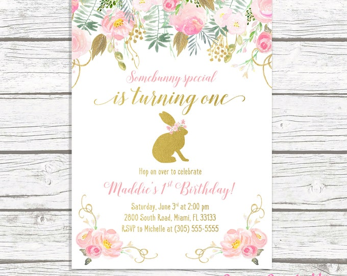 Bunny Birthday Invitation, Bunny Invitation, Pink and Gold Bunny Birthday Invitation, Girl 1st First Birthday Party Invitation Somebunny One