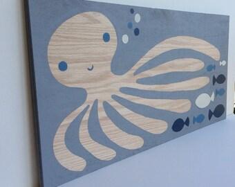 Kids Bathroom Art - Nautical Nursery - Ocean Animals - Octopus Art - Nautical Bathroom Decor - Under the Sea Nursery - Fish Art