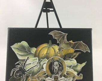 Scream, Spider, Pumpkin Decoupage Canvas