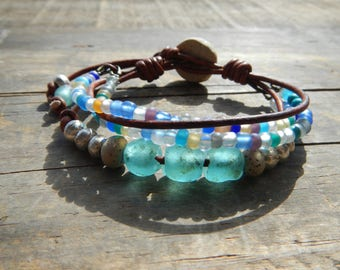 Beaded Bracelet , Beaded Jewelry, Beaded  Bracelet, Beaded Leather Bracelet for Women, Bead Bracelet, Bracelets for Women,