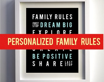 Wall Art Family Rules Sign Subway - playroom house rules print typography poster bus roll modern art decor
