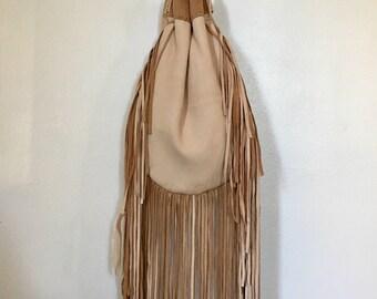 Leather drawstring purse