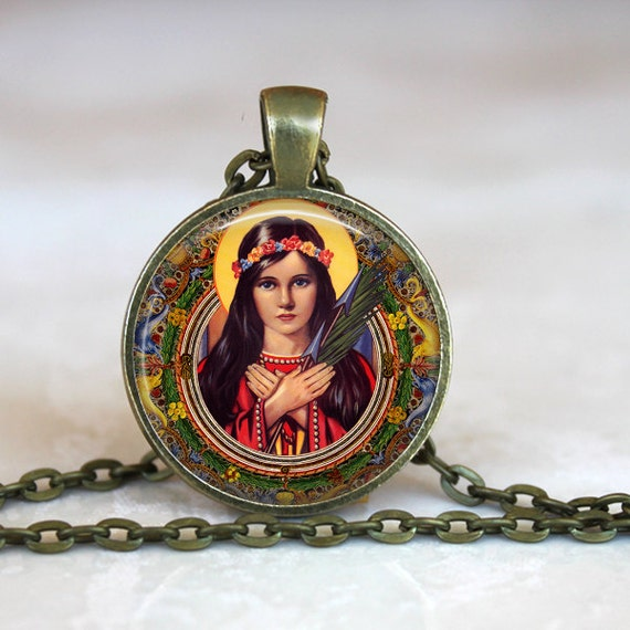 Saint Philomena Art Pendant - Catholic Jewelry, Catholic Saint Necklace with 24 inch chain - Patron Saint of Infants, Youth and Virgins