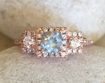 Aquamarine Rose Gold Ring- Deco Aquamarine Ring- Vintage Blue Promise Ring for Her- Bridal Wedding Ring- Three Stone Anniversary Ring