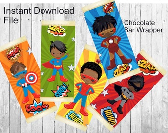 African American Hero Candy Bar Wrapper/Hero Chocolate Bar Wrapper