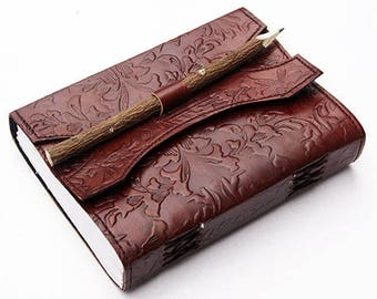 """Handmade leather bound journal diary/notebook/sketchbook with embossed design and handmade paper , 7""""x 5"""" + handcrafted wood pencil"""