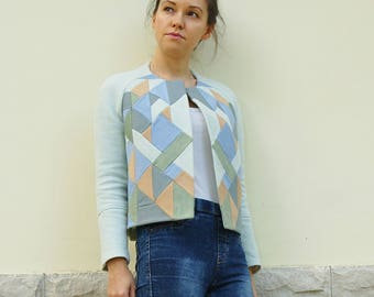 blue woolen patchwork raglan sleeves short  jacket