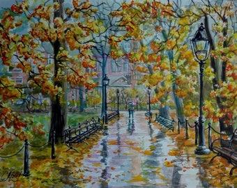 Autumn tree painting original watercolor painting landscape watercolor New York painting NYC art Central park NY Rainy day painting New York