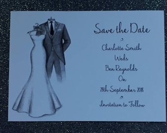 Handmade Personalised A6 Save the Date Cards Handrawn Design - Including Envelopes