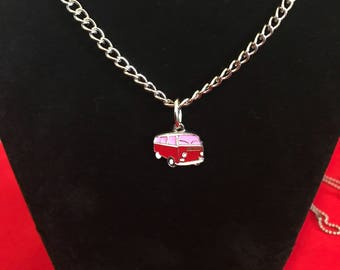 VW Bus Inspired necklace on metal chain