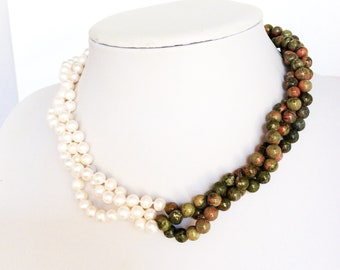 Unusual beaded necklace genuine hand knotted pearls and unakite gemstones beads