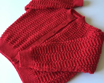 "Hand knitted Girl's lacy cardigan, to fit chest 24"", summer cardigan, one only, lightweight cardigan, fire-engine red, immediate shipping"