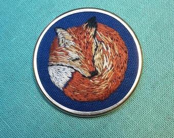 Sleeping Fox Hand Embroidered Brooch