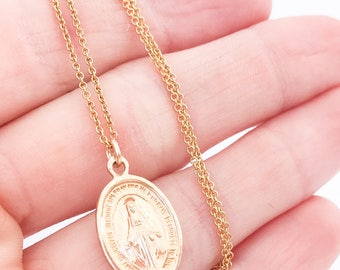 Mini, Small Mother Mary Necklace, Virgin Saint, Dogeared, Religious, Dainty, Delicate, Baptism Gift, Miraculous Medal, Religious Jewelry