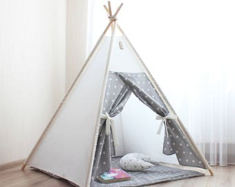 Teepee Kids teepee tent gray stars Childrens teepee Baby shower Gift Playhouse Nursery decor Play tent Baby gift Princess wigwam Teepees