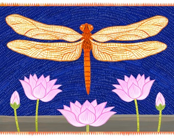 Dragonfly with Lotus Flowers Card